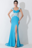 A-Line/Sheath Spaghetti  Sweep Train Elastic Satin Prom  Dresses With Lace