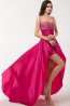 A-Line Strapless Detachable Floor Length Taffeta Prom Dress with Beaded Bodice