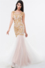 Sheath/Column Floor Length Jewel Neck Tulle Evening Dress with Appliques