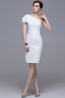 Sheath/Column One-Shoulder Knee Length Chiffon Bridesmaid Dress with Pleats