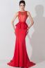 Sheath/Column Jewel Neck Floor Length Elastic Satin Evening Dress with Flowers