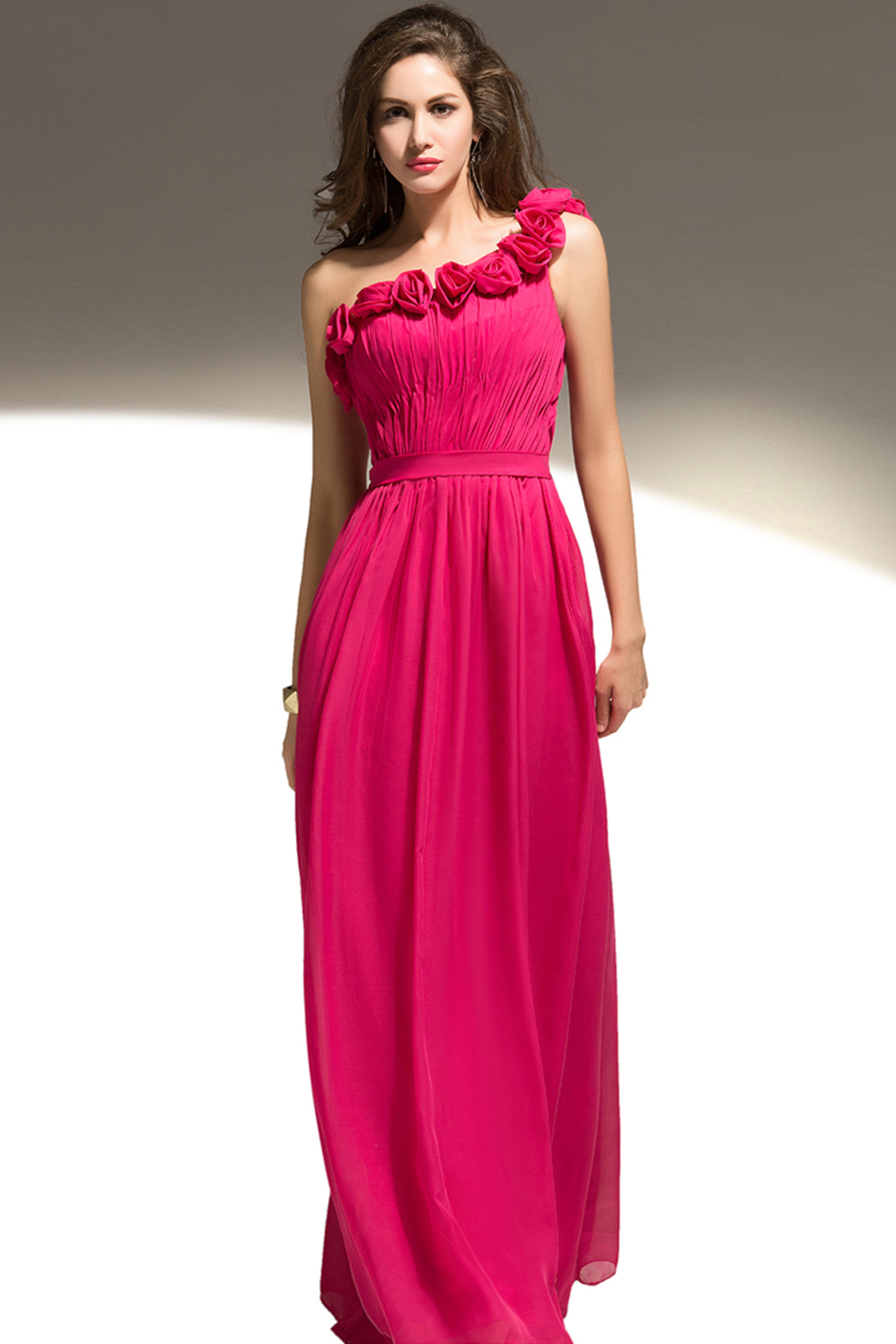A-Line One-Shoulder Floor Length Chiffon Brideamaid  Dresses with Hand Made Flower