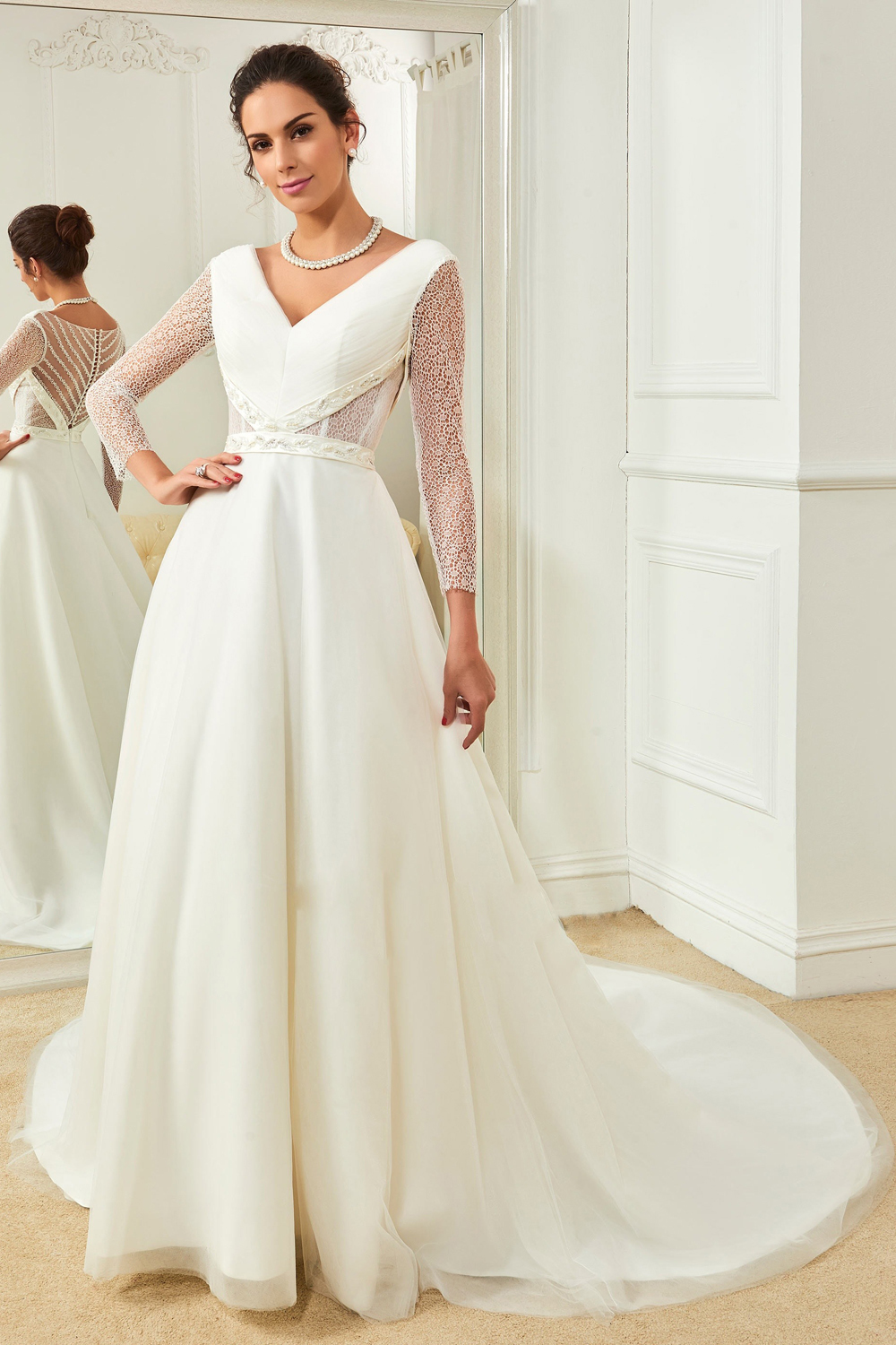 A-Line/Princess Tulle Sweep Train Newest Style Wedding Dresses
