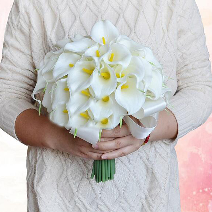 Calla Lily Bridal Wedding Bouquet Lataex Real Touch Artificial Flower Home Party Decoration