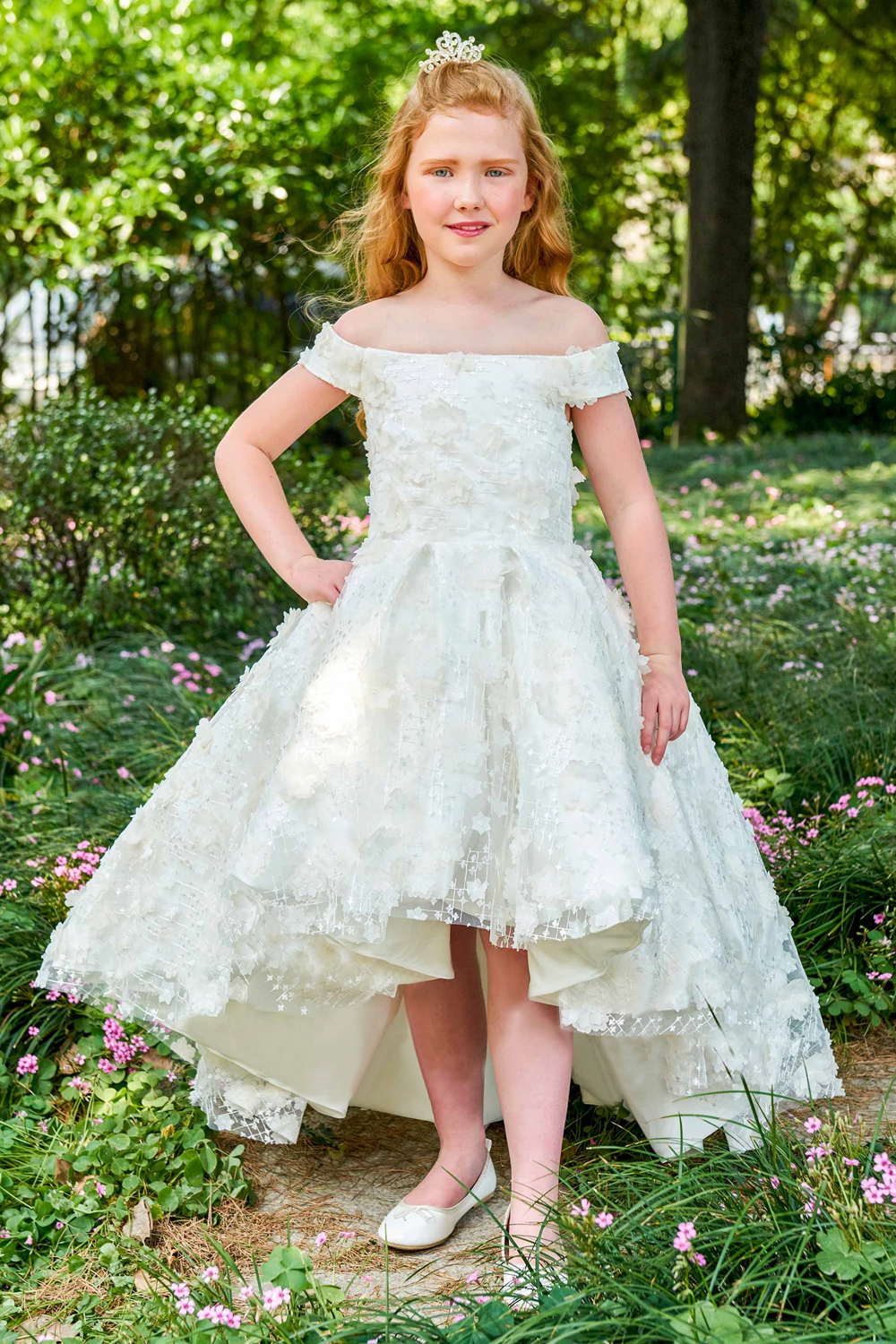 A-Line/Princess Satin Hi-Lo Childrens Flower Girl Dress