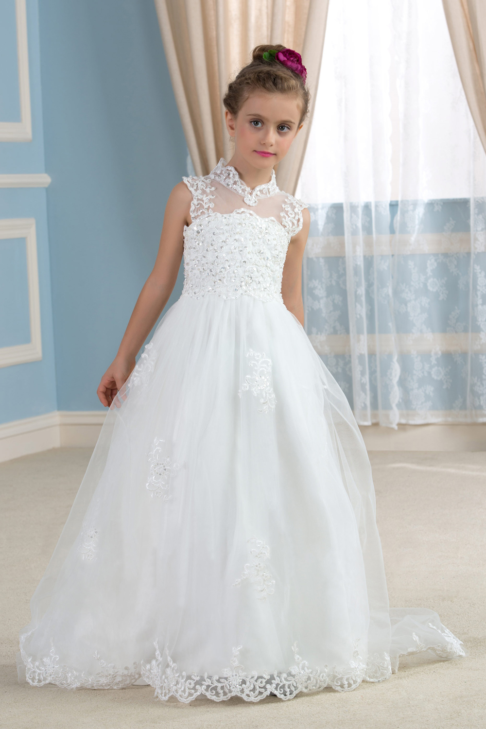 A-Line/Princess Lace Floor Length Childrens Flower Girl Dress