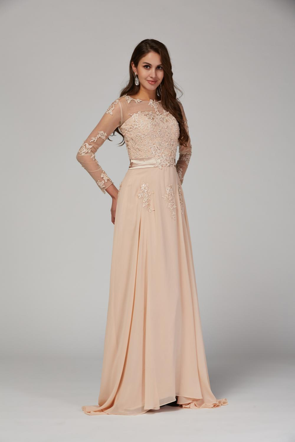 A-Line Jewel Neck Floor Length Chiffon Mother of the Bride Dresses with Applique