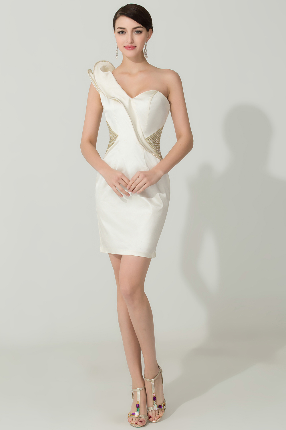 Sheath/Column One-Shoulder Mini-Length Satin Cocktail Dress with Ruffles