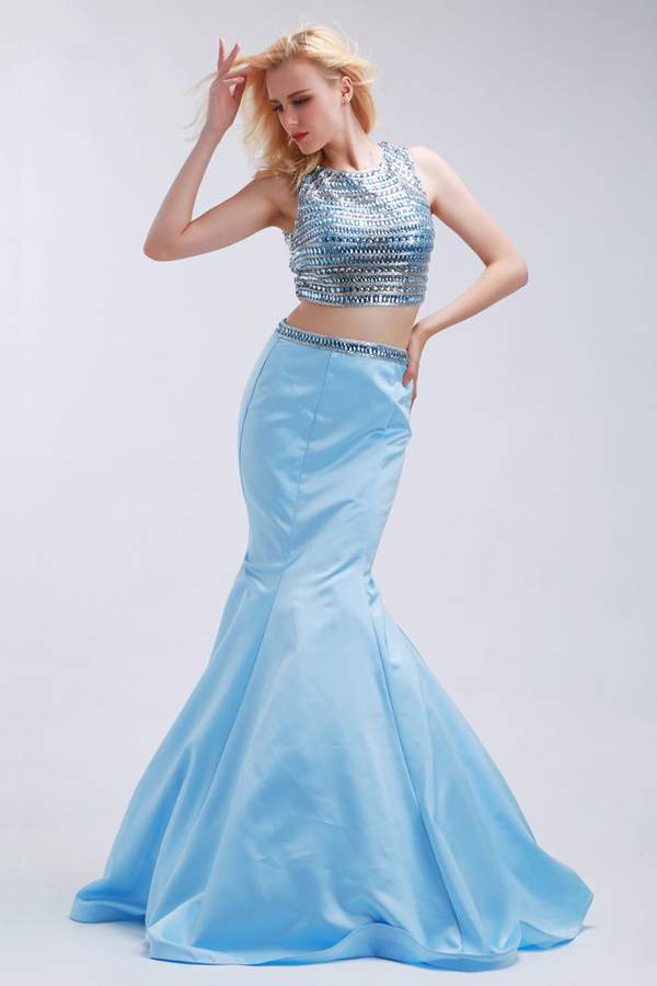 Trumpet/Mermaid Elastic Satin Sweep Train Long Evening Formal Dresses