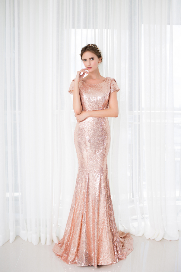 Trumpet/Mermaid Sequined Sweep Train Women Formal Evening Dresses