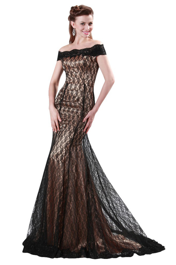Trumpet/Mermaid Lace Sweep Train Long Evening Dresses