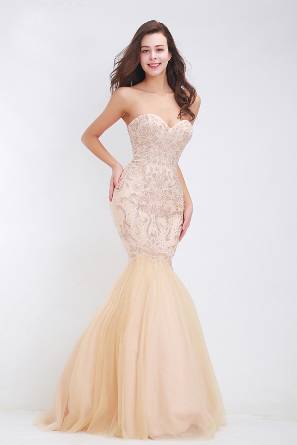Trumpet/Mermaid Strapless Floor-Length Tulle Evening Dress with Beaded