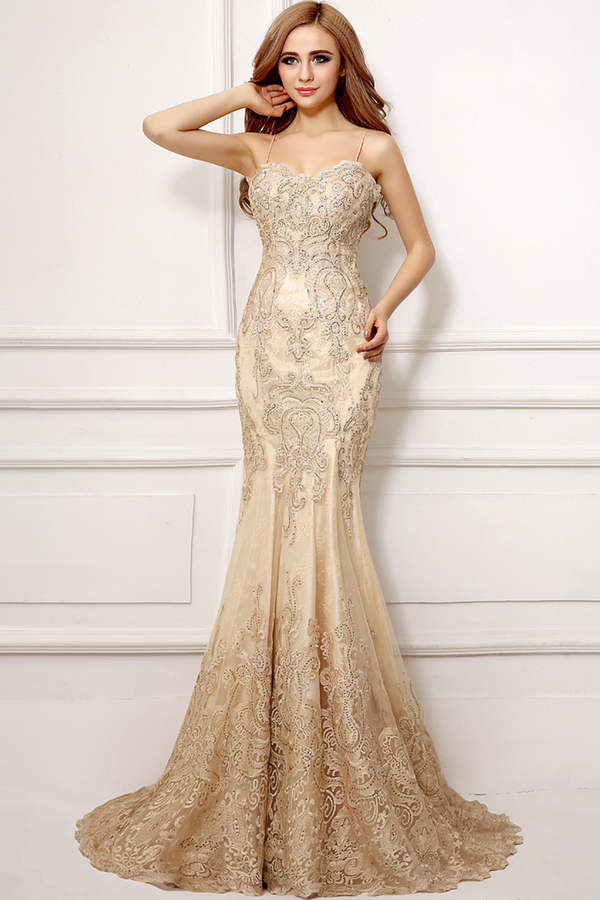 Trumpet/Mermaid Spaghetti Sweep Train Lace Evening Dresses with Applique