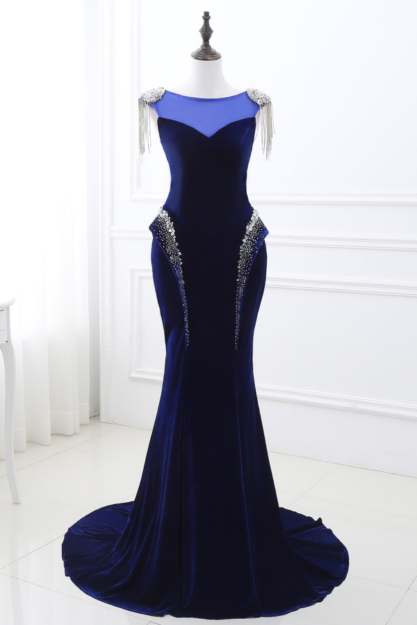 Trumpet/Mermaid Jersey Sweep Train Formal Evening Dresses for Women