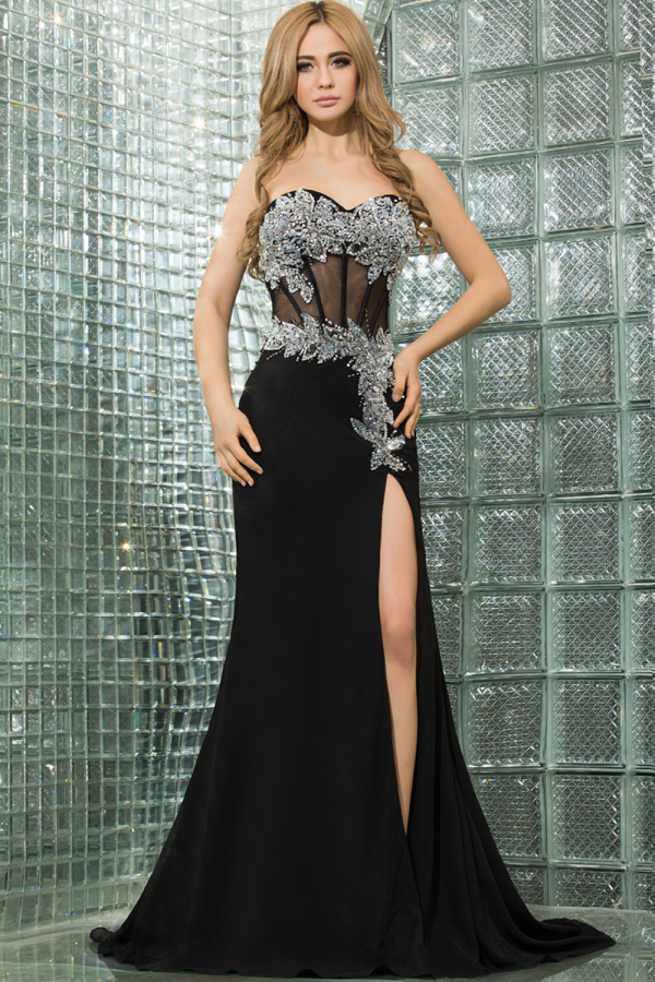 Trumpet/Mermaid Sweetheart Neckline Sweep Train Chiffon Evening Dresses with Front Slit