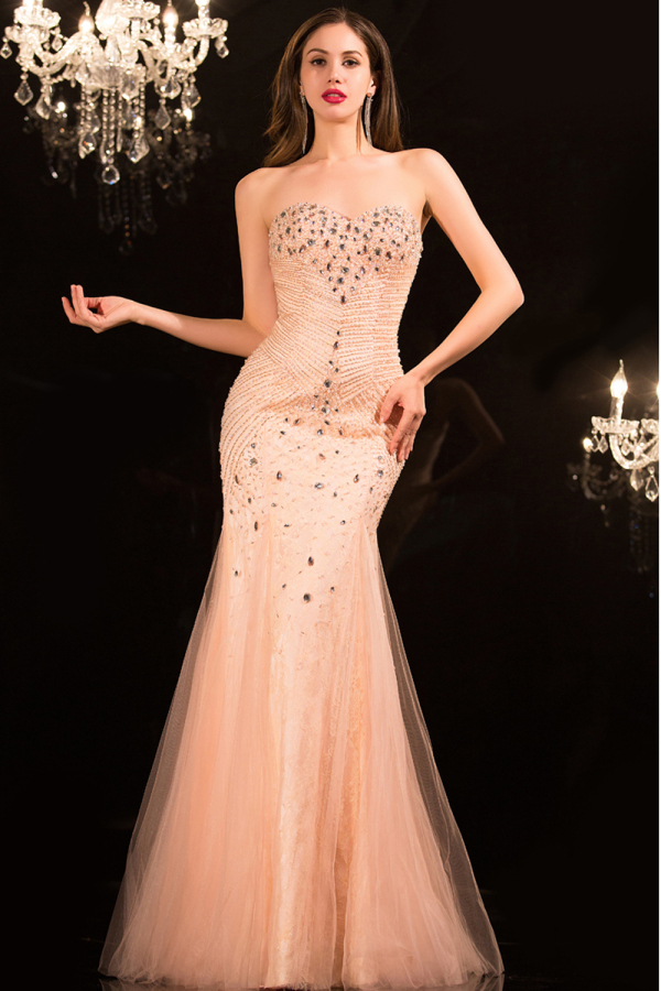Trumpet/Mermaid Strapless Floor Length Tulle Evening  Dresses  with Diamond