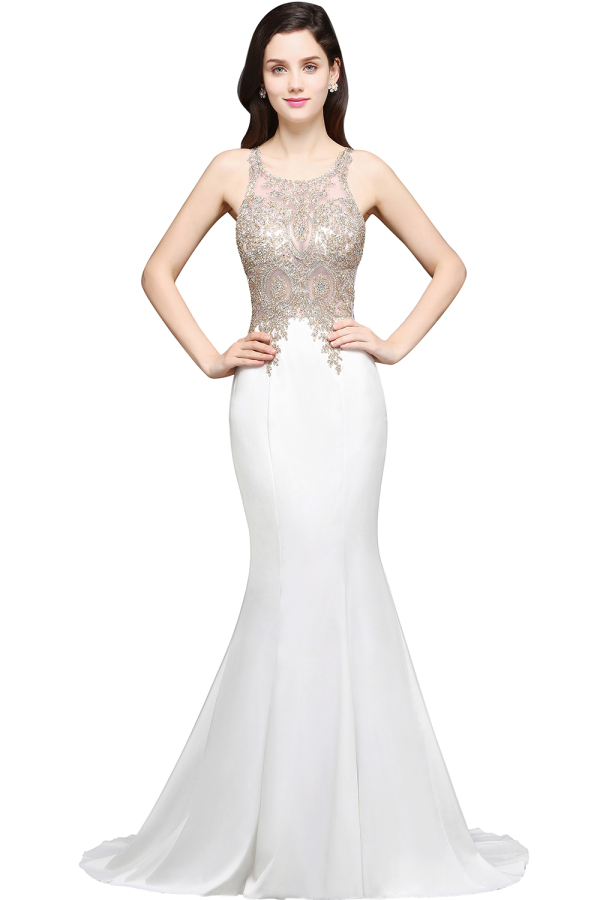 Trumpet/Mermaid Jersey Sweep Train Womens Formal Evening Gowns