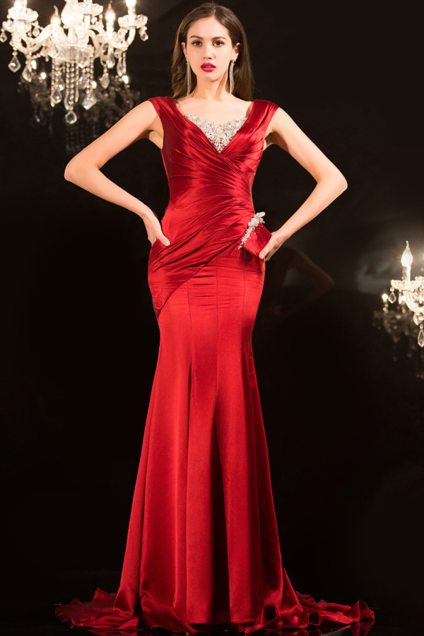 Trumpet/Mermaid V-Neck Sweep Train Elastic Satin Evening Dresses with Beads