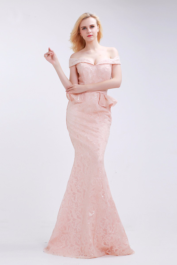 Trumpet/Mermaid Lace Sweep Train Evening Dresses for Weddings