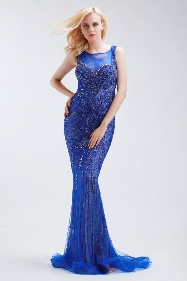 Trumpet/Mermaid Tulle Sweep Train Vintage Evening Gowns