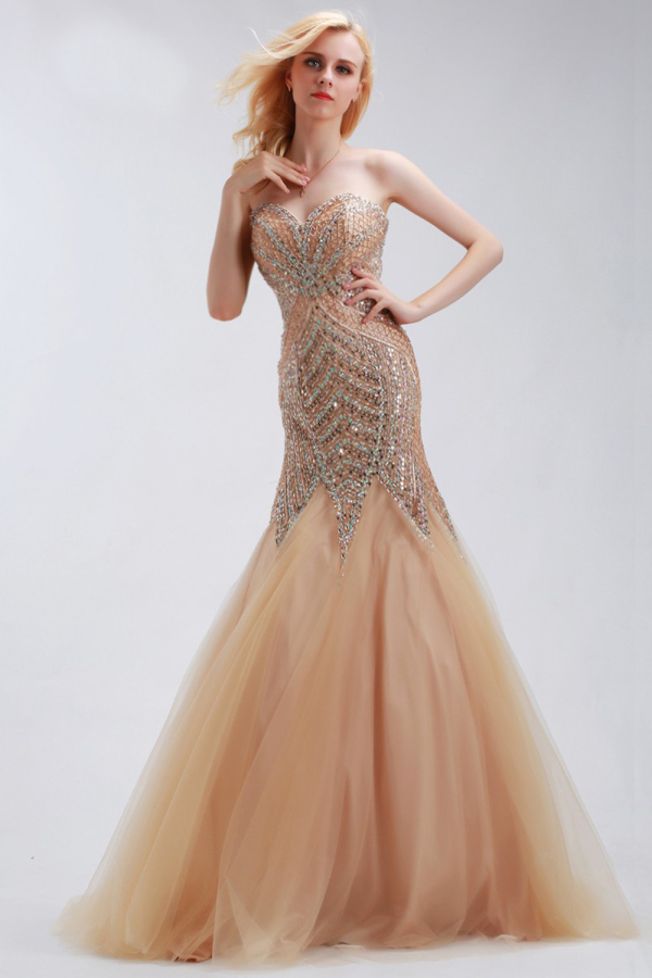 Trumpet/Mermaid Strapless Floor Length Tulle Evening Dress with Beadings