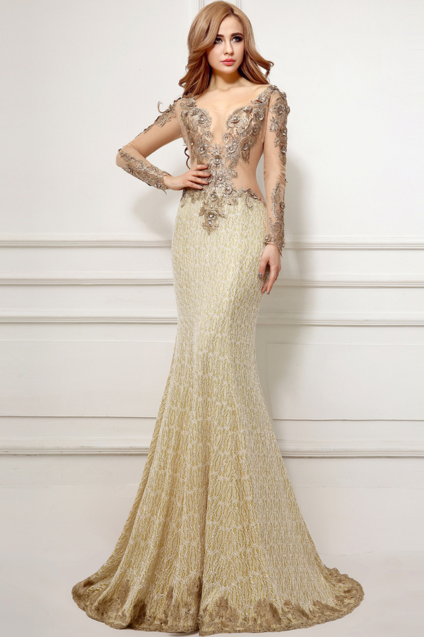 Trumpet/Mermaid V-Neck Sweep Train Chiffon Evening Dresses with Applique