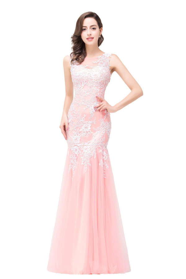 Trumpet/Mermaid Tulle Floor Length Dresses Long Formal