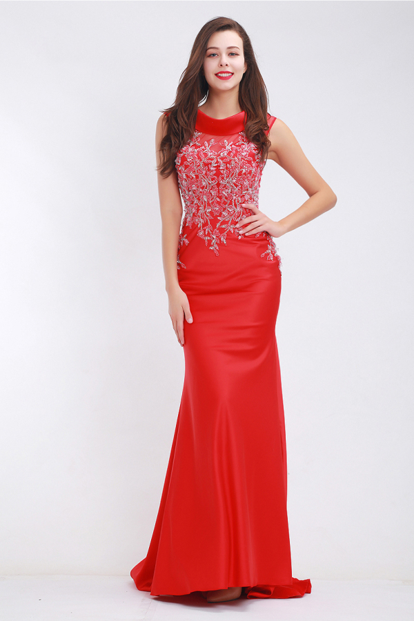 Turmpet/Mermaid Elastic Satin Floor Length Long Red Prom Dress